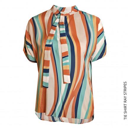 Kd Klaus Dilkrath Tie Bluse Ray Stripes